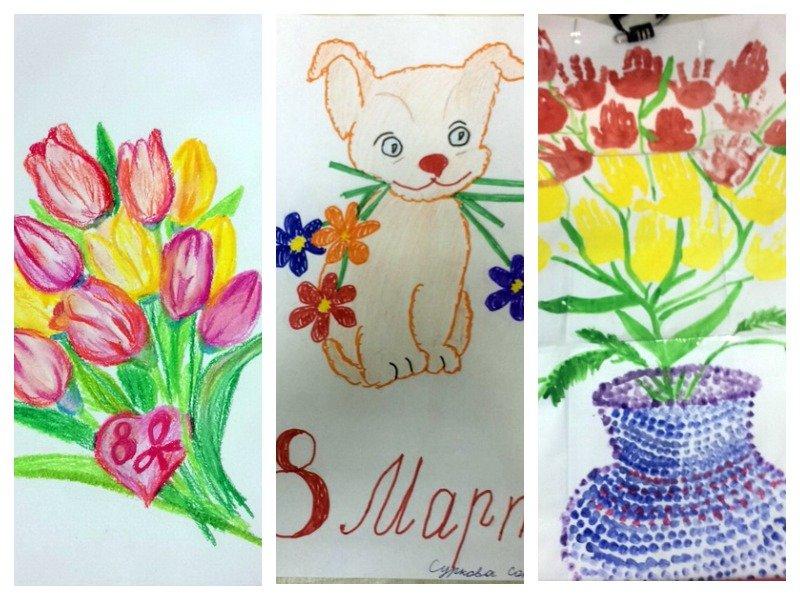 Картинки на 8 марта нарисованные детьми